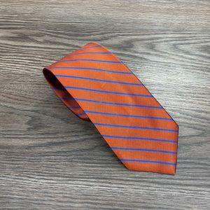 J. Crew Orange w/ Blue Stripe Silk Tie